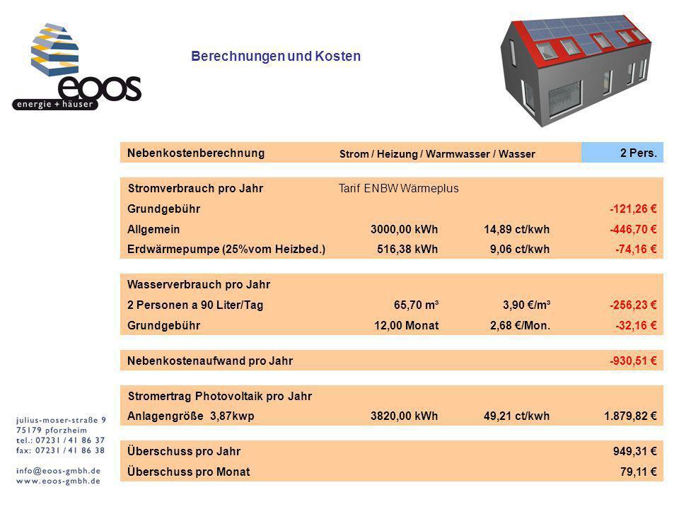 Berechnungen und Kosten Nebenkostenberechnung Strom / Heizung / Warmwasser / Wasser 2 Pers.