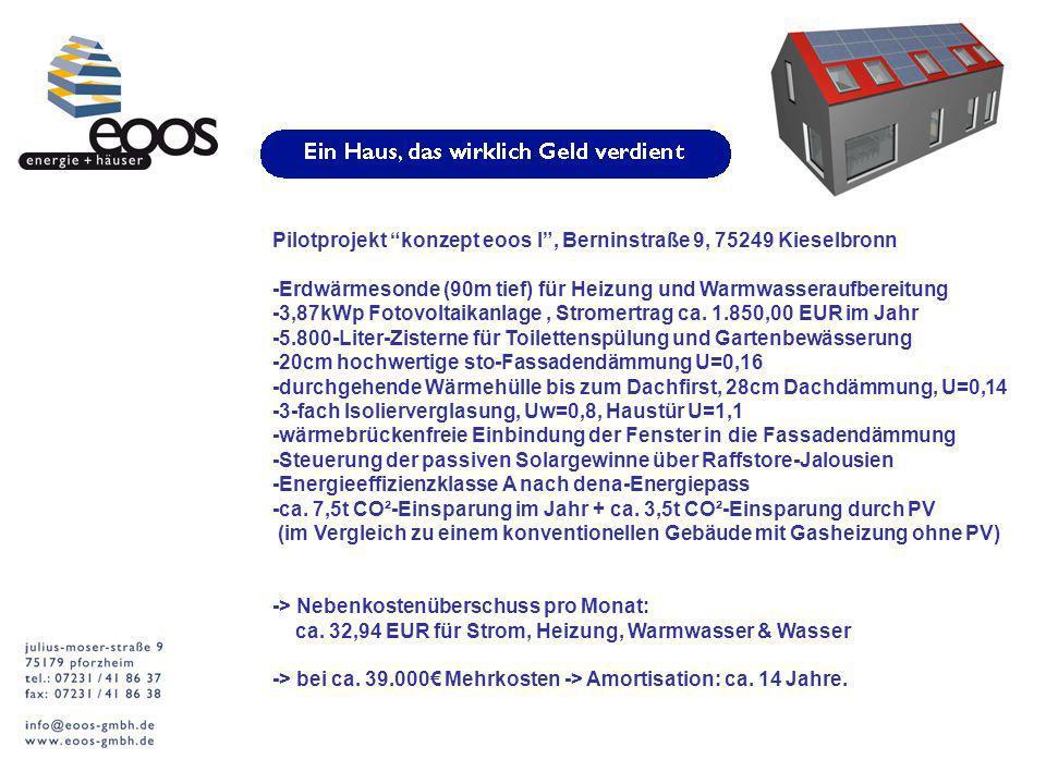 Pilotprojekt konzept eoos l, Berninstraße 9, 75249 Kieselbronn -Erdwärmesonde (90m tief) für Heizung und Warmwasseraufbereitung -3,87kWp Fotovoltaikanlage, Stromertrag ca.