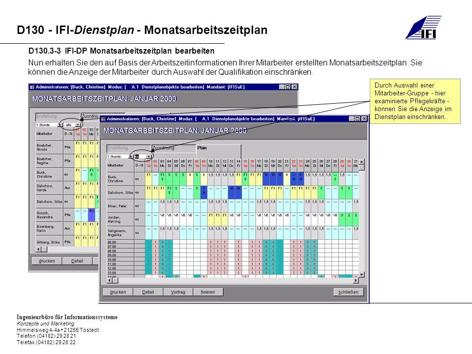 Ingenieurbüro für Informationssysteme Konzepte und Marketing Himmelsweg 4-4a 21255 Tostedt Telefon (04182) 29 28 21 Telefax (04182) 29 28 22 D130 - IFI-Dienstplan - Monatsarbeitszeitplan D130.3-3 IFI-DP Monatsarbeitszeitplan bearbeiten Nun erhalten Sie den auf Basis der Arbeitszeitinformationen Ihrer Mitarbeiter erstellten Monatsarbeitszeitplan.