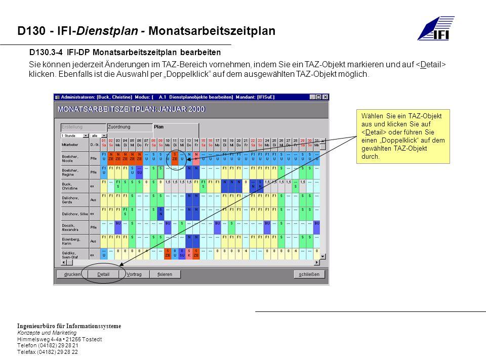 Ingenieurbüro für Informationssysteme Konzepte und Marketing Himmelsweg 4-4a 21255 Tostedt Telefon (04182) 29 28 21 Telefax (04182) 29 28 22 D130 - IFI-Dienstplan - Monatsarbeitszeitplan D130.3-4 IFI-DP Monatsarbeitszeitplan bearbeiten Sie können jederzeit Änderungen im TAZ-Bereich vornehmen, indem Sie ein TAZ-Objekt markieren und auf klicken.