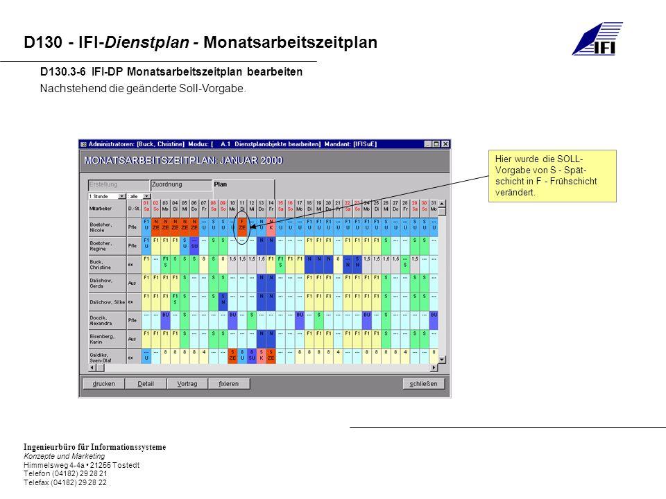 Ingenieurbüro für Informationssysteme Konzepte und Marketing Himmelsweg 4-4a 21255 Tostedt Telefon (04182) 29 28 21 Telefax (04182) 29 28 22 D130 - IFI-Dienstplan - Monatsarbeitszeitplan D130.3-6 IFI-DP Monatsarbeitszeitplan bearbeiten Nachstehend die geänderte Soll-Vorgabe.