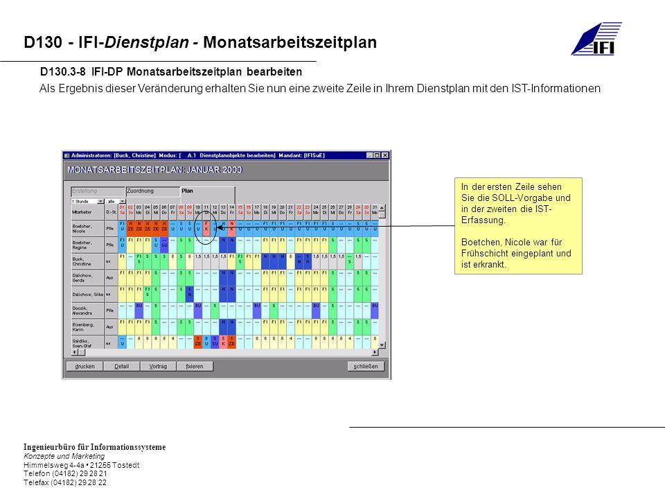 Ingenieurbüro für Informationssysteme Konzepte und Marketing Himmelsweg 4-4a 21255 Tostedt Telefon (04182) 29 28 21 Telefax (04182) 29 28 22 D130 - IFI-Dienstplan - Monatsarbeitszeitplan D130.3-8 IFI-DP Monatsarbeitszeitplan bearbeiten Als Ergebnis dieser Veränderung erhalten Sie nun eine zweite Zeile in Ihrem Dienstplan mit den IST-Informationen In der ersten Zeile sehen Sie die SOLL-Vorgabe und in der zweiten die IST- Erfassung.