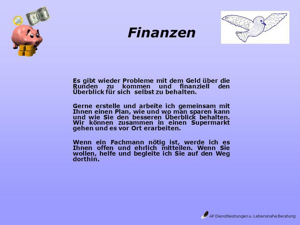 Finanzen Es gibt wieder Probleme mit dem Geld über die Runden zu kommen und finanziell den Überblick für sich selbst zu behalten. Gerne erstelle und a