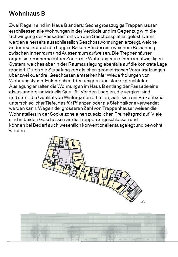 Wohnhaus A Als einziges der vier Wohnhäuser umschliesst das Gebäude Höfe. Es steht auf der Südseite des Geländes entlang dem Gleisfeld und ist wie die