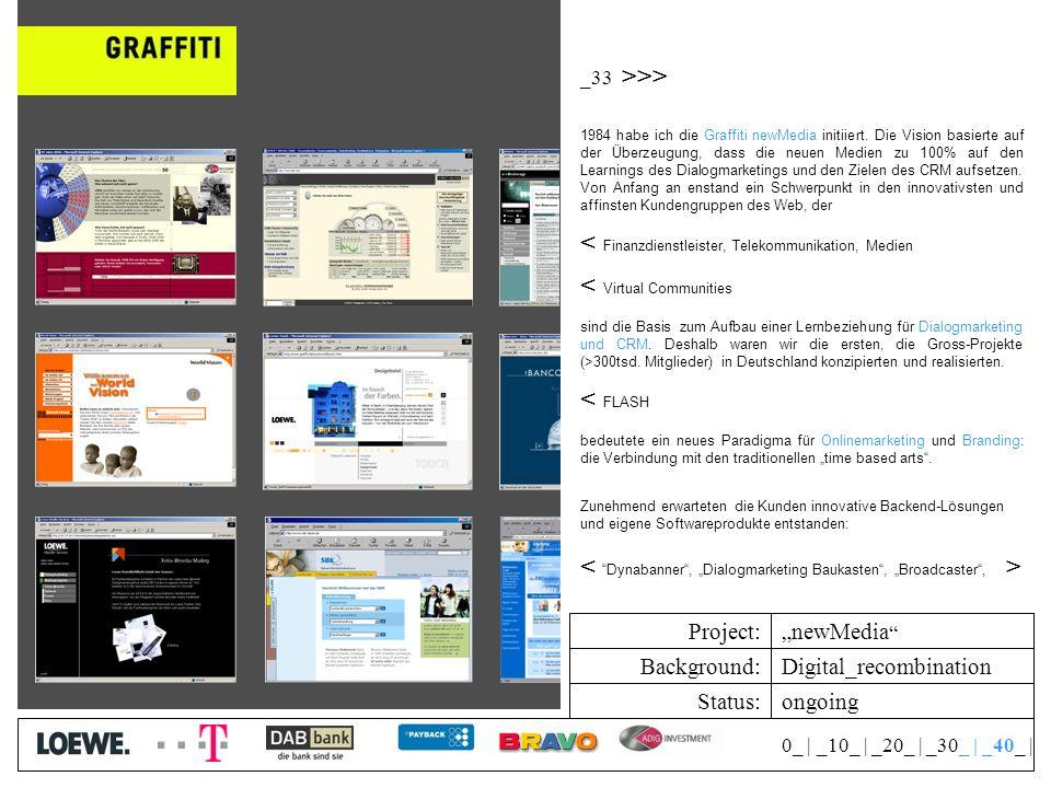 Status: Background: Project: 0_   _10_   _20_   _30_   _40_   Digital_recombination newMedia _33 >>> 1984 habe ich die Graffiti newMedia initiiert.