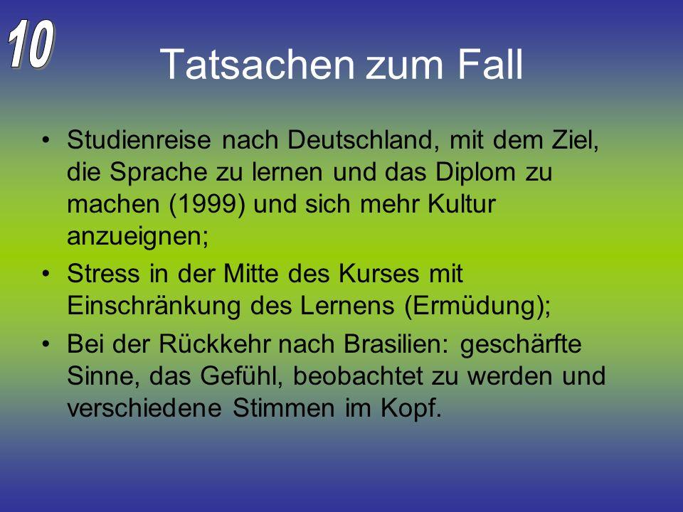 Tatsachen zum Fall Studienreise nach Deutschland, mit dem Ziel, die Sprache zu lernen und das Diplom zu machen (1999) und sich mehr Kultur anzueignen;