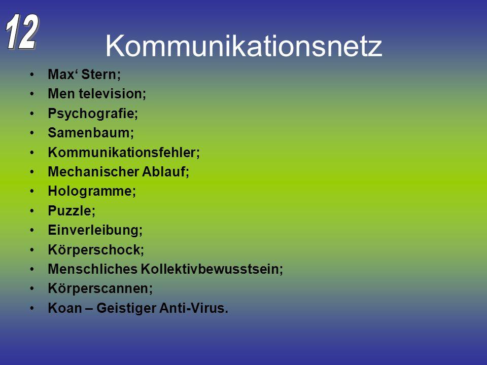 Kommunikationsnetz Max Stern; Men television; Psychografie; Samenbaum; Kommunikationsfehler; Mechanischer Ablauf; Hologramme; Puzzle; Einverleibung; K