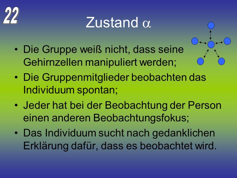 Zustand Die Gruppe weiß nicht, dass seine Gehirnzellen manipuliert werden; Die Gruppenmitglieder beobachten das Individuum spontan; Jeder hat bei der