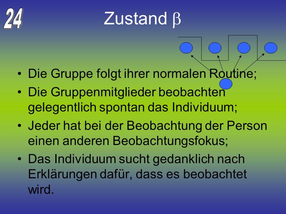 Zustand Die Gruppe folgt ihrer normalen Routine; Die Gruppenmitglieder beobachten gelegentlich spontan das Individuum; Jeder hat bei der Beobachtung d