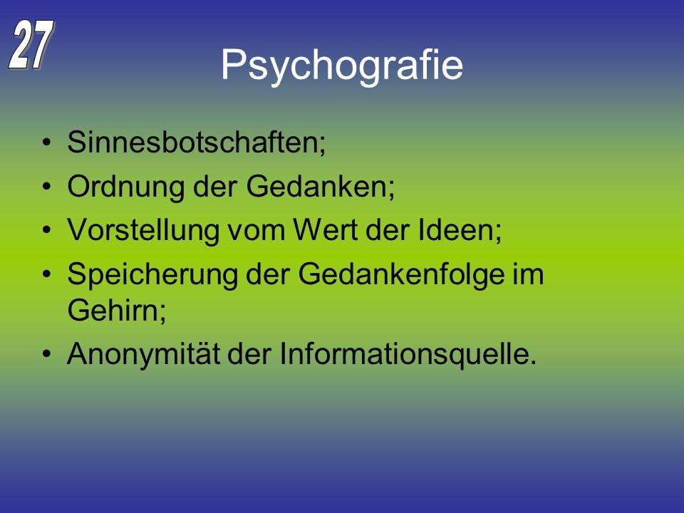 Psychografie Sinnesbotschaften; Ordnung der Gedanken; Vorstellung vom Wert der Ideen; Speicherung der Gedankenfolge im Gehirn; Anonymität der Informat