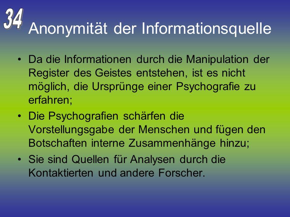 Anonymität der Informationsquelle Da die Informationen durch die Manipulation der Register des Geistes entstehen, ist es nicht möglich, die Ursprünge