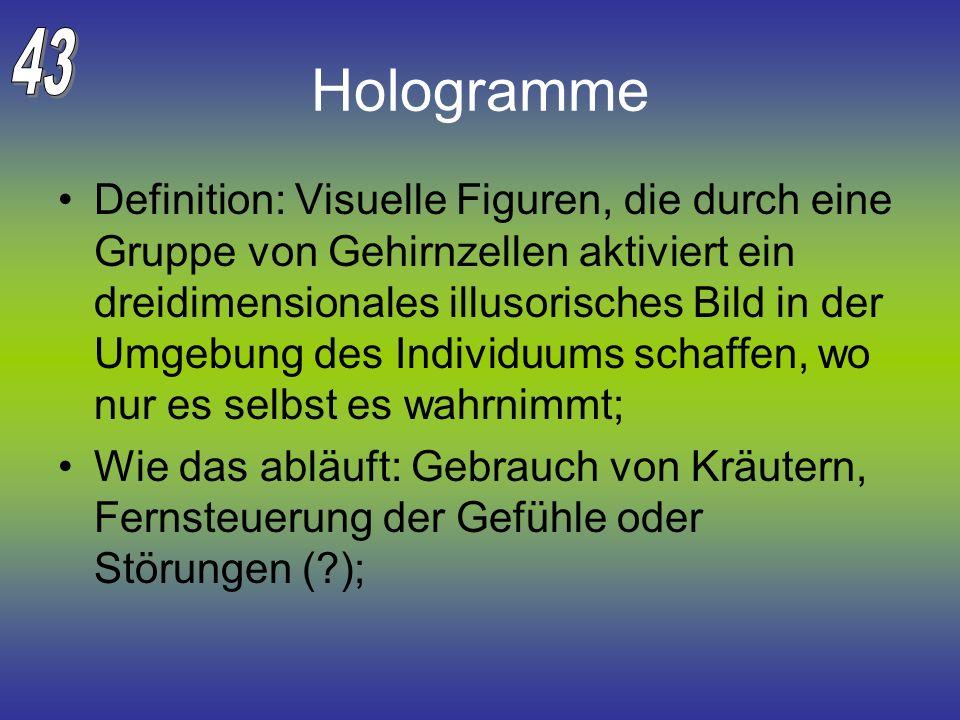 Hologramme Definition: Visuelle Figuren, die durch eine Gruppe von Gehirnzellen aktiviert ein dreidimensionales illusorisches Bild in der Umgebung des