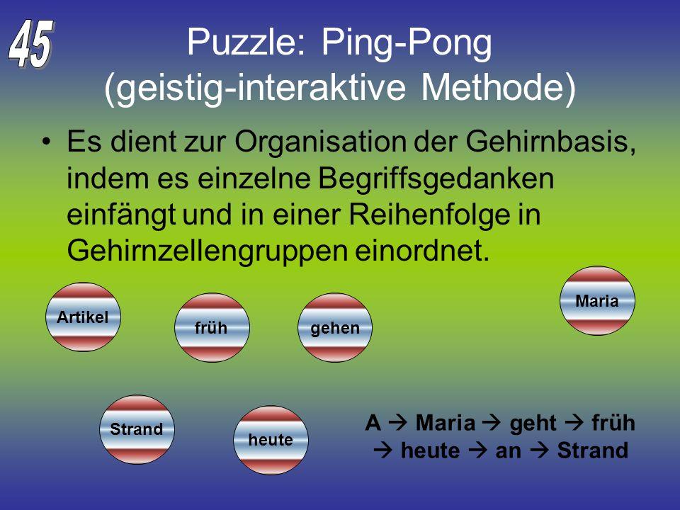 Puzzle: Ping-Pong (geistig-interaktive Methode) Es dient zur Organisation der Gehirnbasis, indem es einzelne Begriffsgedanken einfängt und in einer Re
