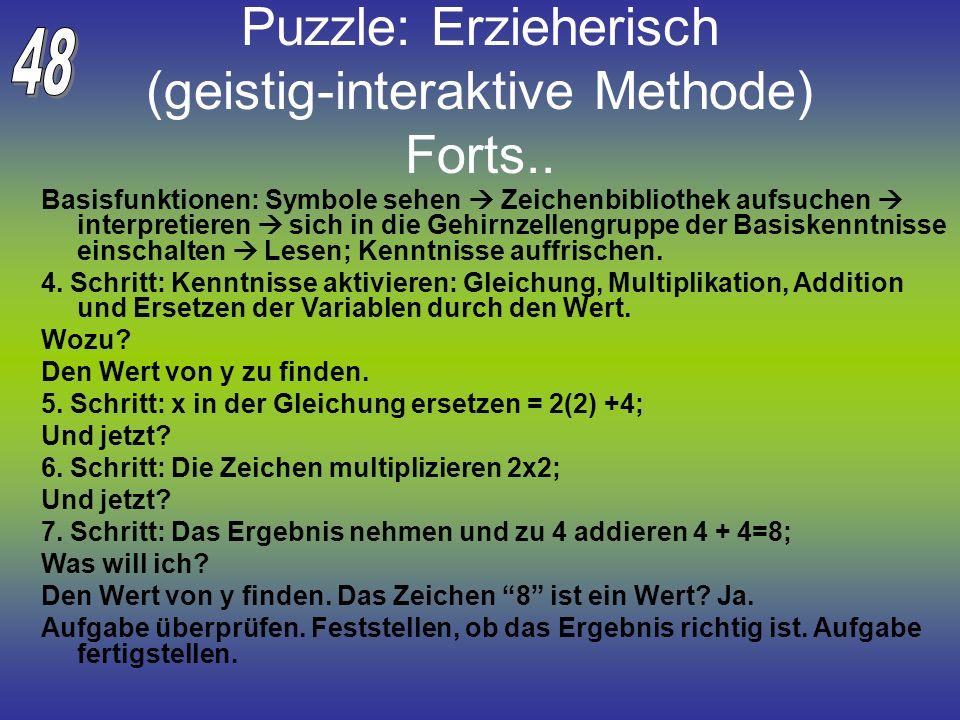 Puzzle: Erzieherisch (geistig-interaktive Methode) Forts.. Basisfunktionen: Symbole sehen Zeichenbibliothek aufsuchen interpretieren sich in die Gehir