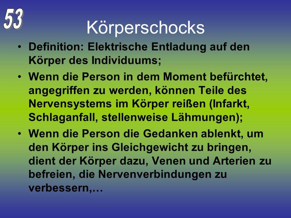 Körperschocks Definition: Elektrische Entladung auf den Körper des Individuums; Wenn die Person in dem Moment befürchtet, angegriffen zu werden, könne
