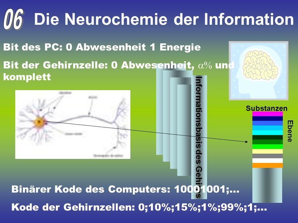 Die Neurochemie der Information Informationsbasis des Gehirns Substanzen Ebene Binärer Kode des Computers: 10001001;... Kode der Gehirnzellen: 0;10%;1