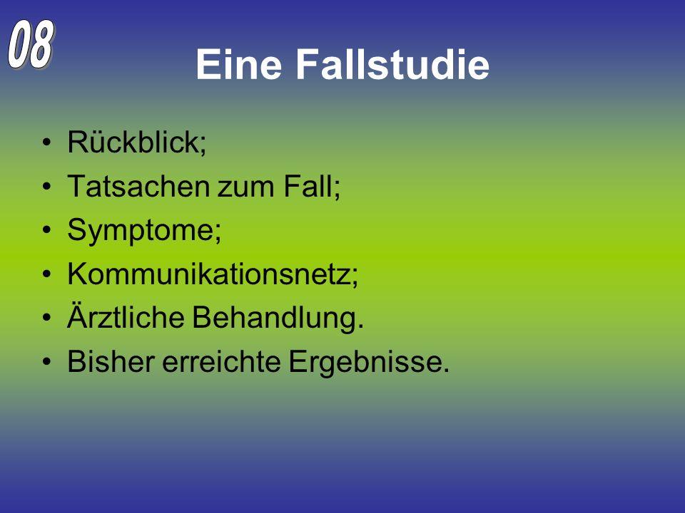Eine Fallstudie Rückblick; Tatsachen zum Fall; Symptome; Kommunikationsnetz; Ärztliche Behandlung. Bisher erreichte Ergebnisse.