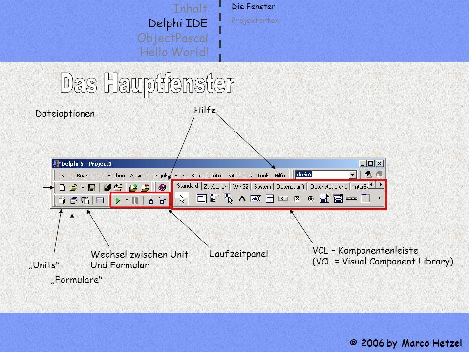 Inhalt Delphi IDE ObjectPascal Hello World! © 2006 by Marco Hetzel Dateioptionen Units Formulare Wechsel zwischen Unit Und Formular Hilfe Laufzeitpane
