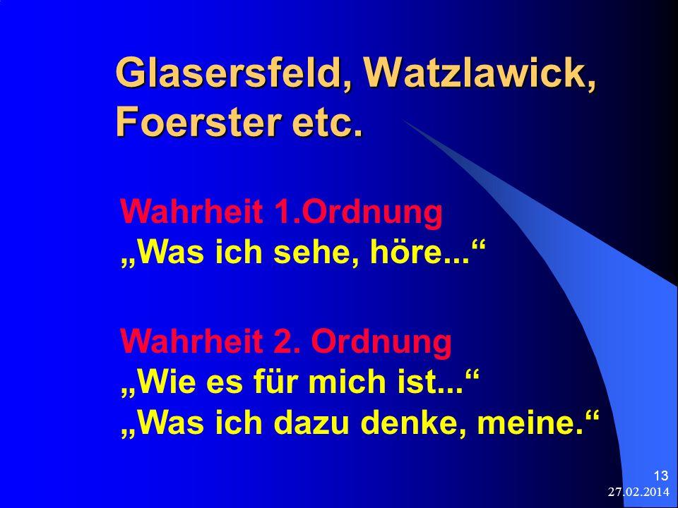 27.02.2014 13 Glasersfeld, Watzlawick, Foerster etc. Wahrheit 1.Ordnung Was ich sehe, höre... Wahrheit 2. Ordnung Wie es für mich ist... Was ich dazu