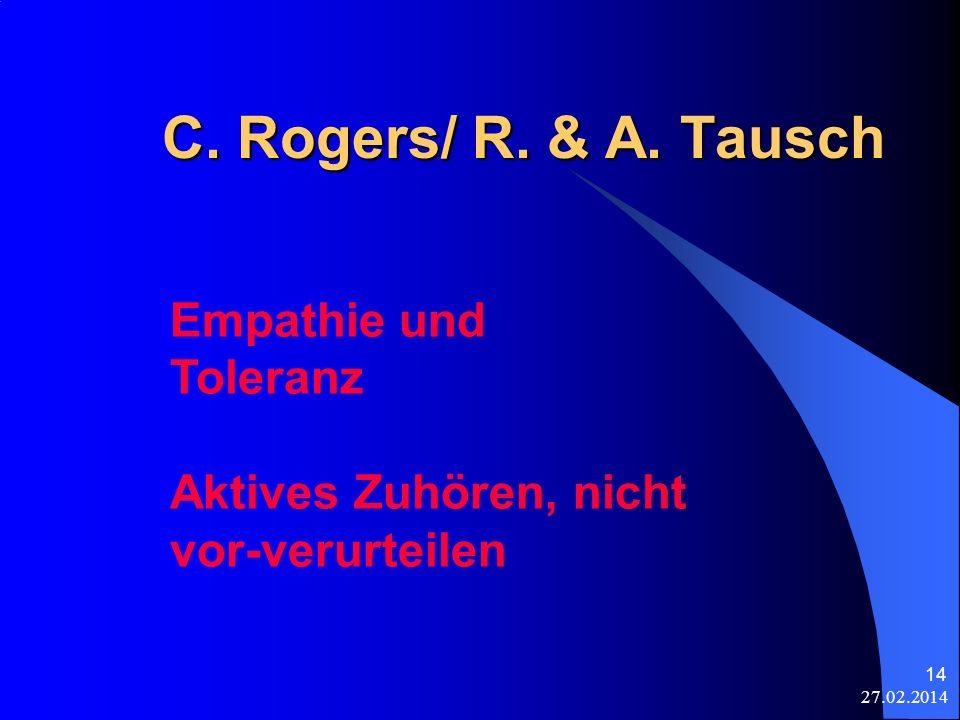 27.02.2014 14 C. Rogers/ R. & A. Tausch Empathie und Toleranz Aktives Zuhören, nicht vor-verurteilen