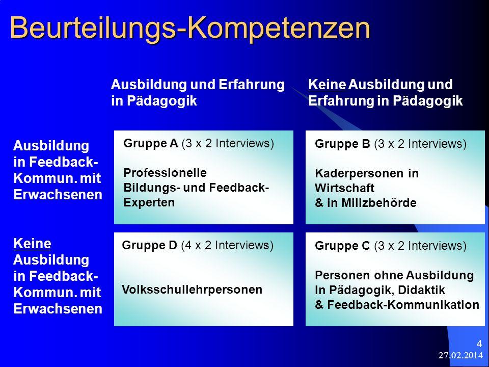27.02.2014 4 Beurteilungs-Kompetenzen Gruppe A (3 x 2 Interviews) Professionelle Bildungs- und Feedback- Experten Gruppe B (3 x 2 Interviews) Kaderper