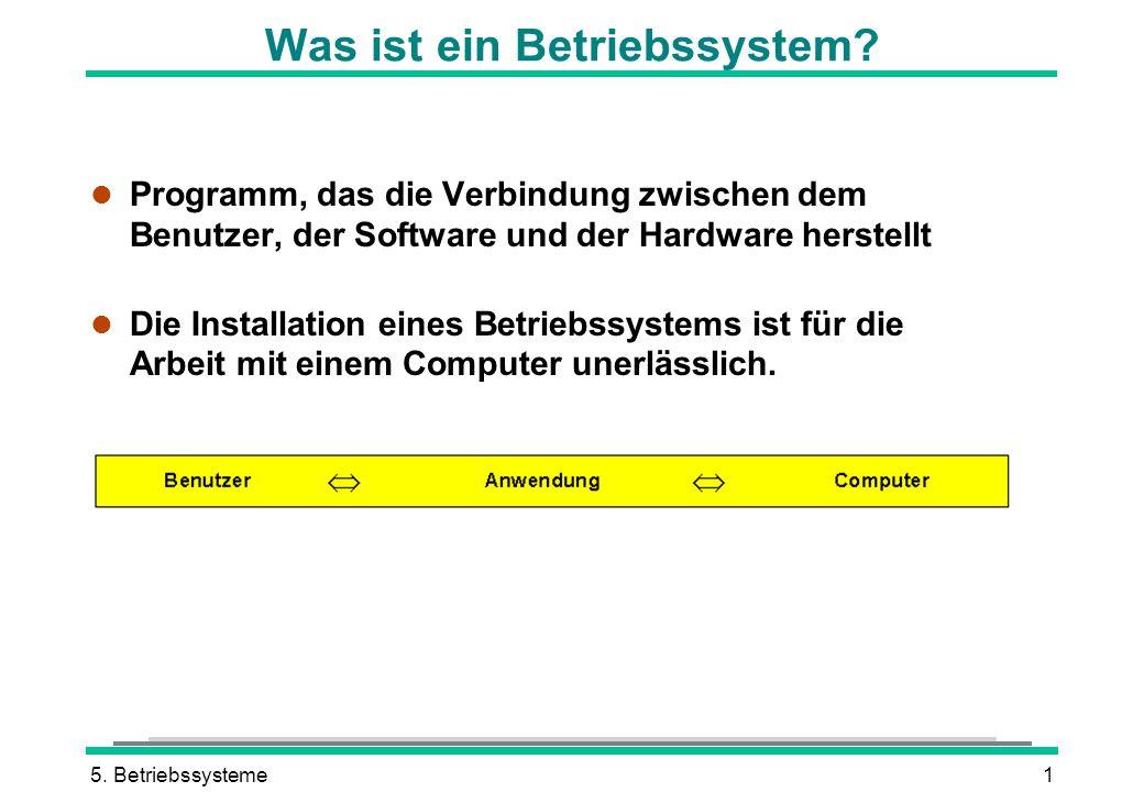 5. Betriebssysteme1 Was ist ein Betriebssystem? l Programm, das die Verbindung zwischen dem Benutzer, der Software und der Hardware herstellt l Die In