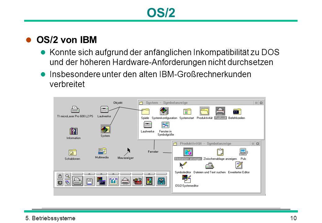 5. Betriebssysteme10 OS/2 l OS/2 von IBM l Konnte sich aufgrund der anfänglichen Inkompatibilität zu DOS und der höheren Hardware-Anforderungen nicht