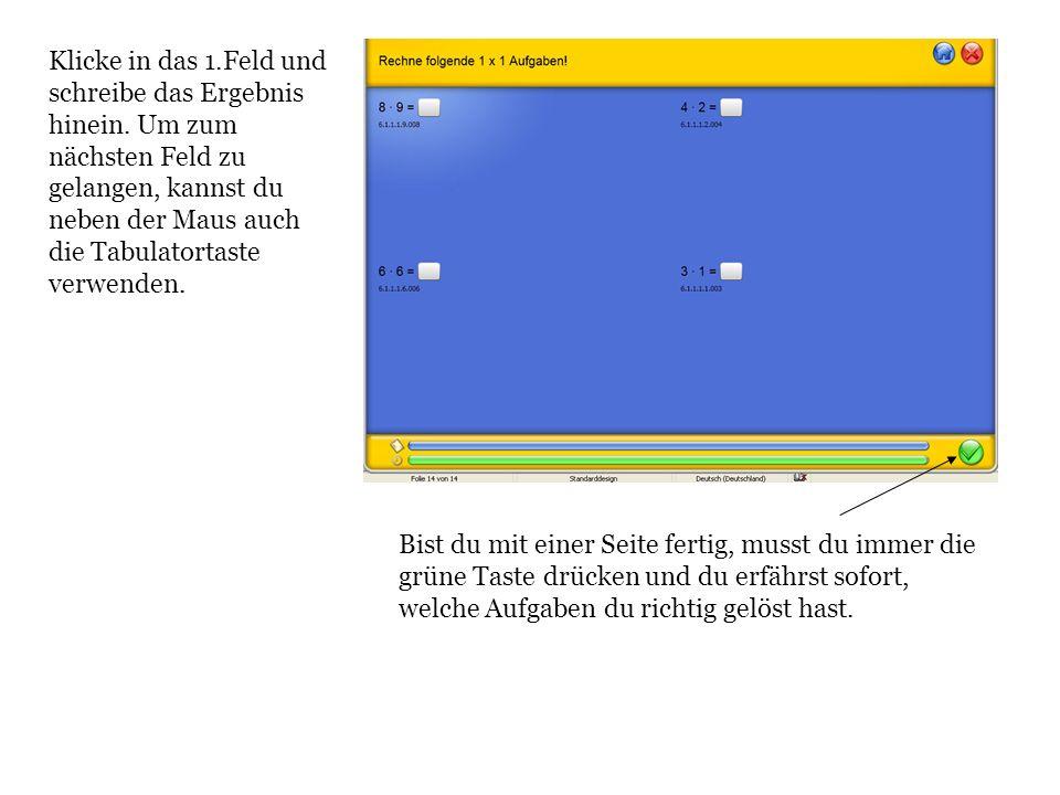Klicke in das 1.Feld und schreibe das Ergebnis hinein. Um zum nächsten Feld zu gelangen, kannst du neben der Maus auch die Tabulatortaste verwenden. B