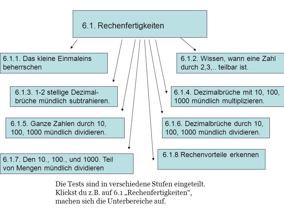 6.1. Rechenfertigkeiten 6.1.1. Das kleine Einmaleins beherrschen 6.1.2. Wissen, wann eine Zahl durch 2,3,.. teilbar ist. 6.1.3. 1-2 stellige Dezimal-