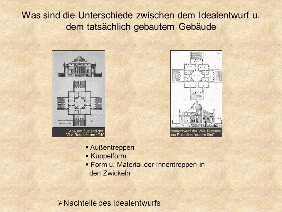 Palladios Suche nach dem Idealentwurf Er baut auf den idealen Formen Kreis u. Quadrat auf Anknüpfungen an Traditionen der Antike vollkommene Übereinst
