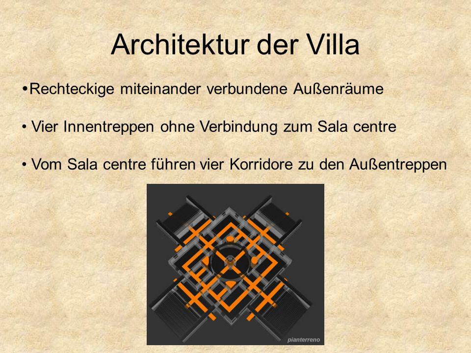 Architektur der Villa Anlehnung an antike röm. Architektur beeinflusst durch Romulus- u. Vestatempels, sowie Panthenon Orientierung am röm. Rundtempel