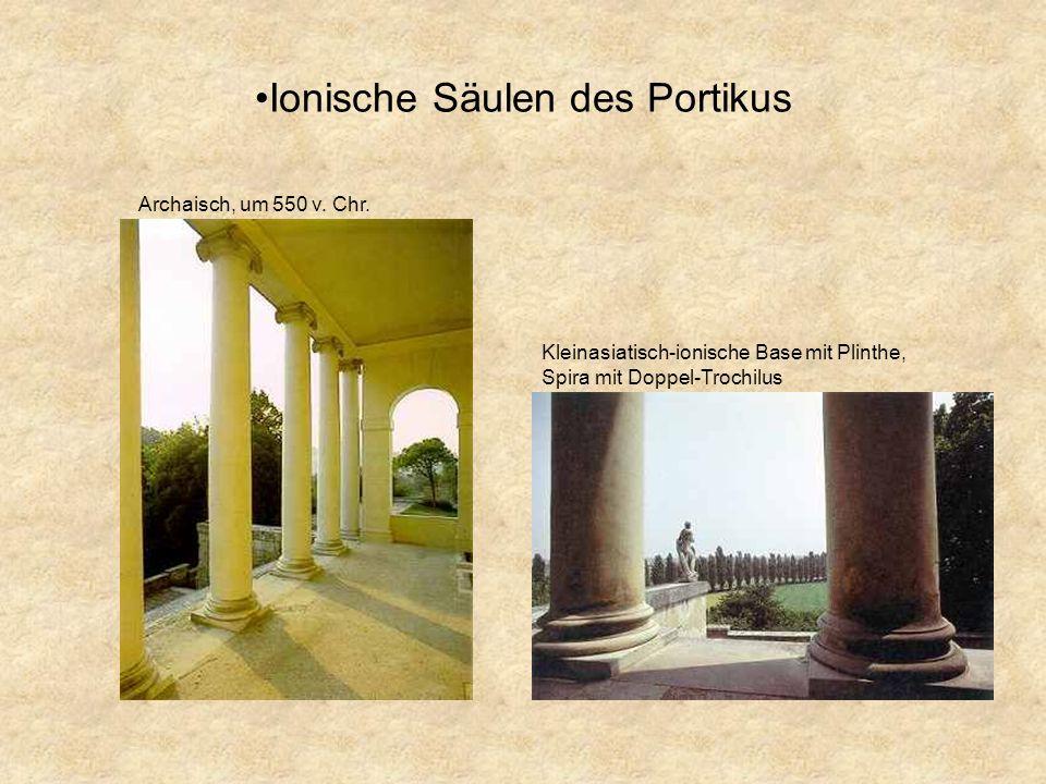 Außendetails der Villa Außenskulpturen an Dreiecksgiebel und Freitreppen zur Dekoration (Anlehnung an die Antike) häufig Figuren aus griechischen Sage