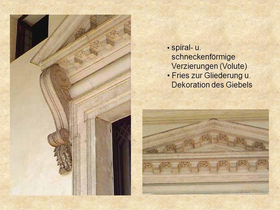 Die ionische Säulenordnung A.Basis 1.Plinthe 2.Trochilos (Hohlkehle) 3.Torus (Wulst) B. Kapitell 4.Echinus 5.Voluten 6.Abakus (Brett) C. Gebälk 7.Arch