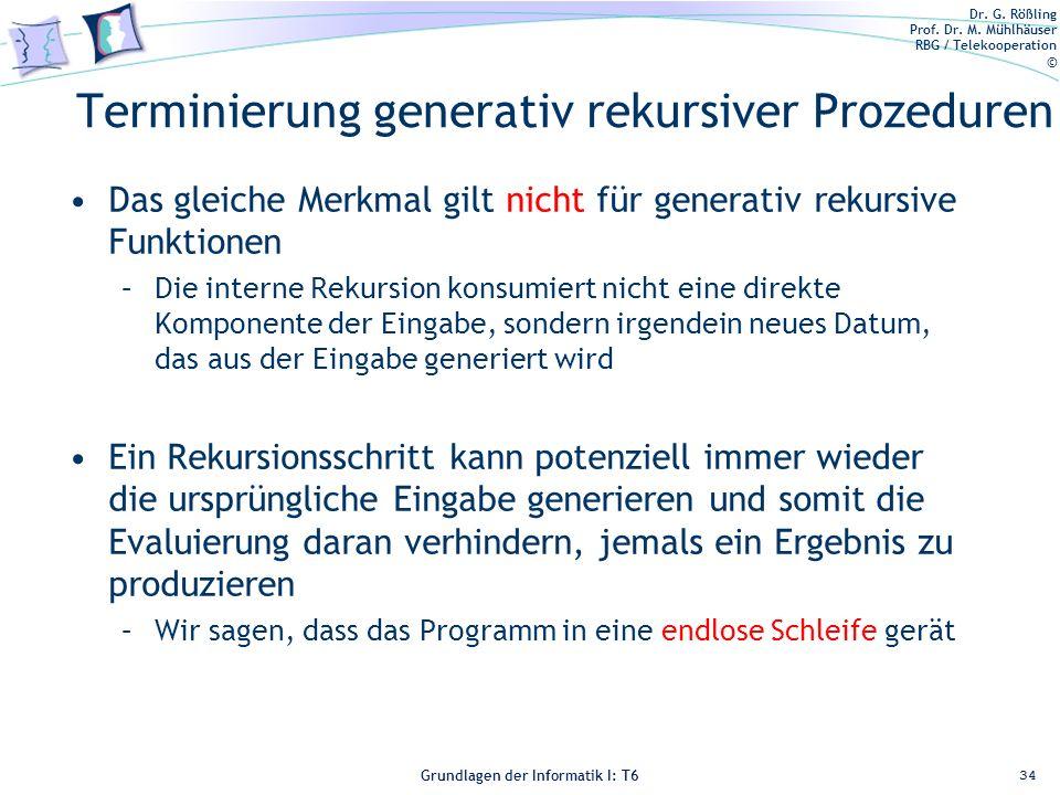 Dr. G. Rößling Prof. Dr. M. Mühlhäuser RBG / Telekooperation © Grundlagen der Informatik I: T6 Grundlagen der Informatik 1 – T6 Terminierung generativ
