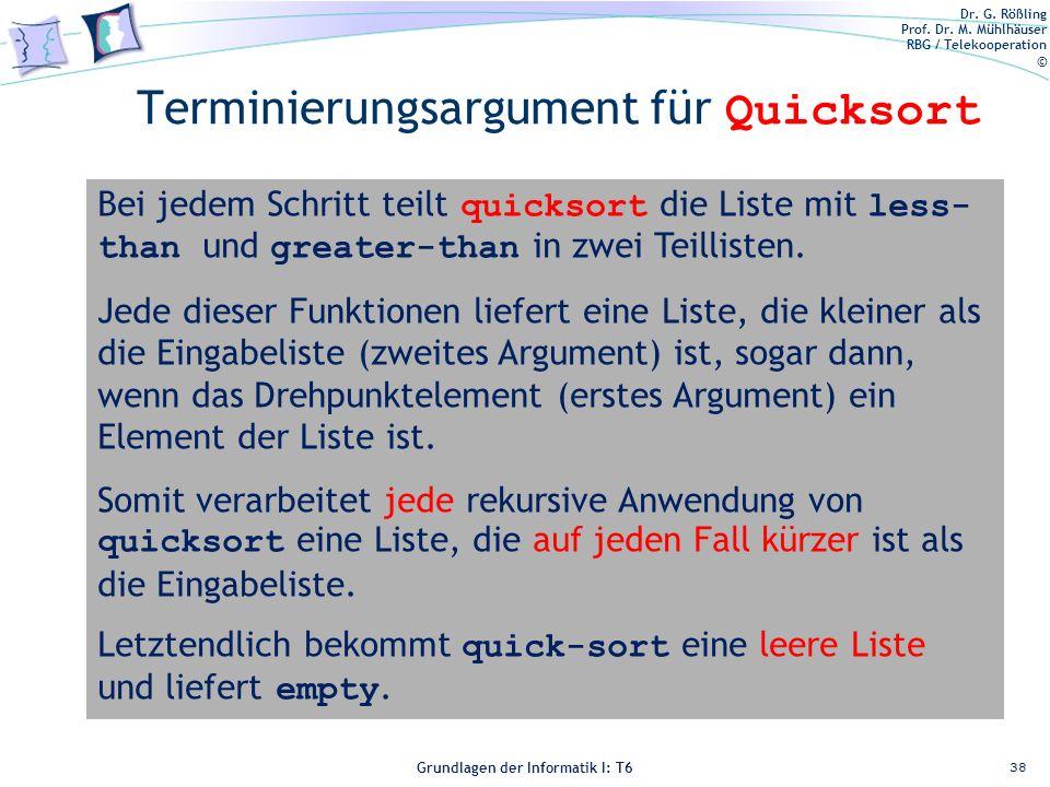 Dr. G. Rößling Prof. Dr. M. Mühlhäuser RBG / Telekooperation © Grundlagen der Informatik I: T6 Grundlagen der Informatik 1 – T6 Terminierungsargument
