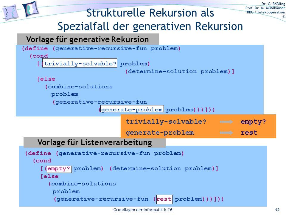 Dr. G. Rößling Prof. Dr. M. Mühlhäuser RBG / Telekooperation © Grundlagen der Informatik I: T6 Grundlagen der Informatik 1 – T6 Strukturelle Rekursion