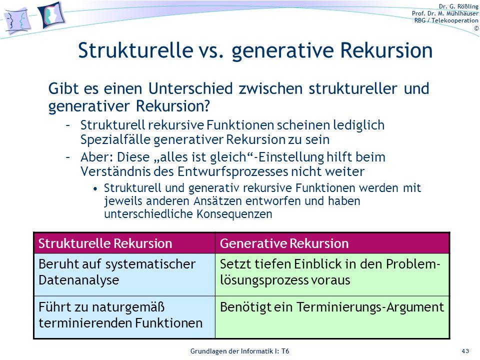 Dr. G. Rößling Prof. Dr. M. Mühlhäuser RBG / Telekooperation © Grundlagen der Informatik I: T6 Grundlagen der Informatik 1 – T6 Strukturelle vs. gener