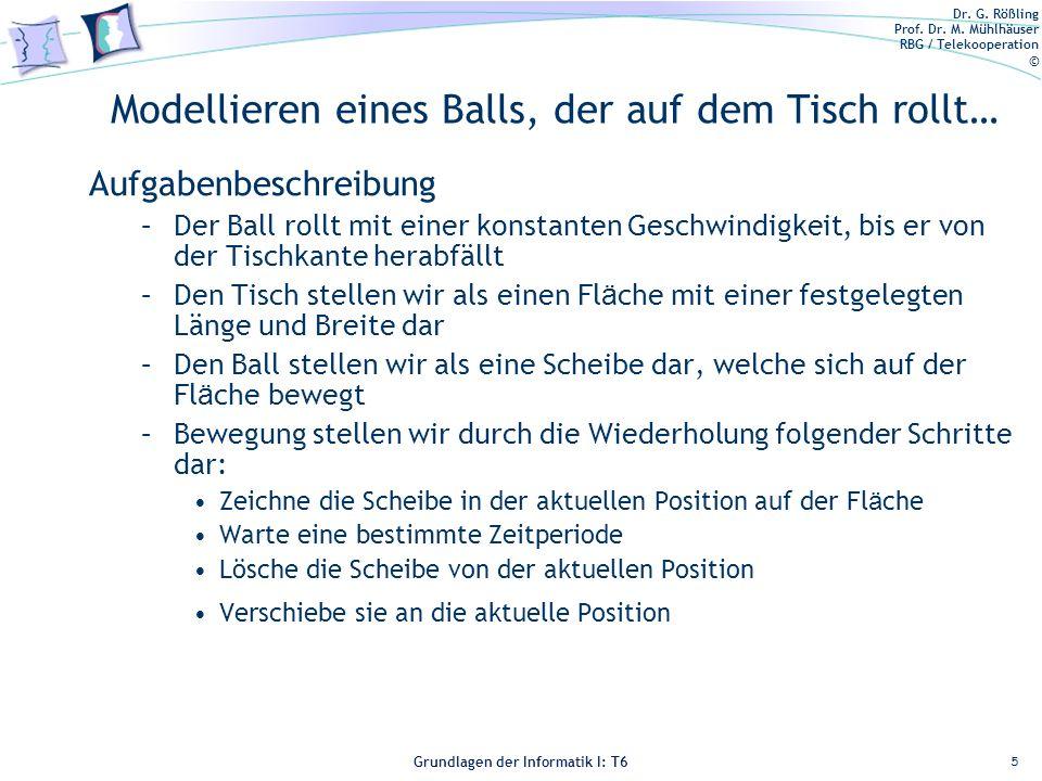 Dr. G. Rößling Prof. Dr. M. Mühlhäuser RBG / Telekooperation © Grundlagen der Informatik I: T6 Grundlagen der Informatik 1 – T6 Modellieren eines Ball