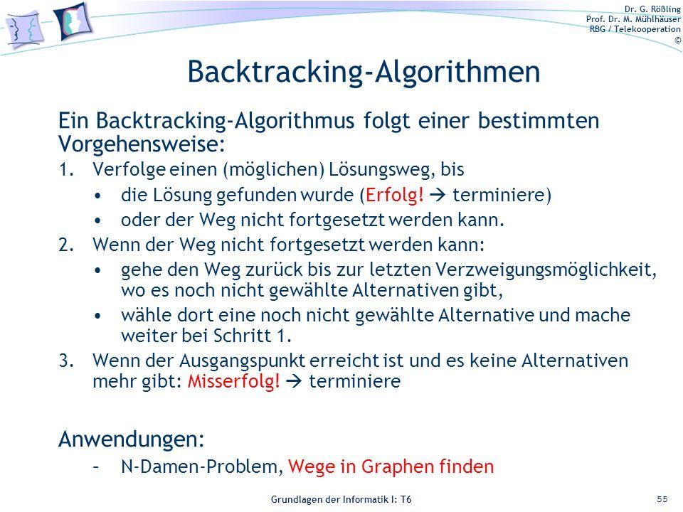 Dr. G. Rößling Prof. Dr. M. Mühlhäuser RBG / Telekooperation © Grundlagen der Informatik I: T6 Grundlagen der Informatik 1 – T6 Backtracking-Algorithm