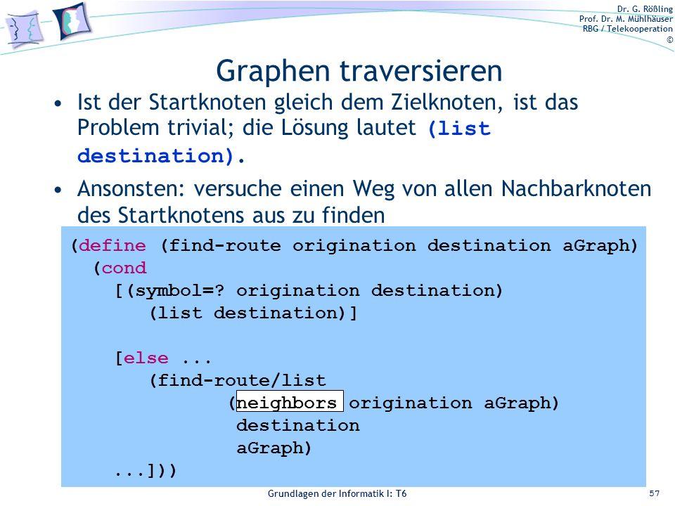 Dr. G. Rößling Prof. Dr. M. Mühlhäuser RBG / Telekooperation © Grundlagen der Informatik I: T6 Grundlagen der Informatik 1 – T6 Graphen traversieren I