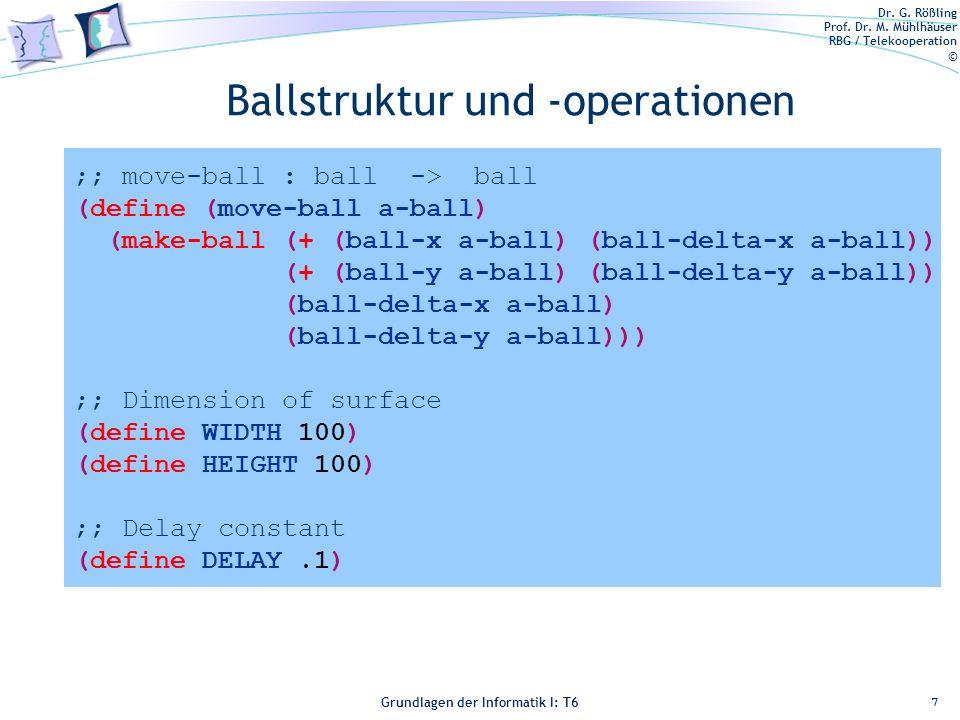 Dr. G. Rößling Prof. Dr. M. Mühlhäuser RBG / Telekooperation © Grundlagen der Informatik I: T6 Grundlagen der Informatik 1 – T6 Ballstruktur und -oper
