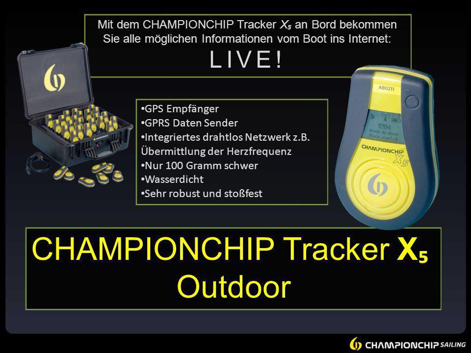 LIVE! Mit dem CHAMPIONCHIP Tracker X an Bord bekommen Sie alle möglichen Informationen vom Boot ins Internet: LIVE! GPS Empfänger GPRS Daten Sender In