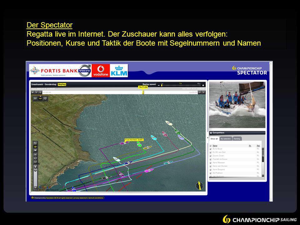 Der Spectator Regatta live im Internet. Der Zuschauer kann alles verfolgen: Positionen, Kurse und Taktik der Boote mit Segelnummern und Namen