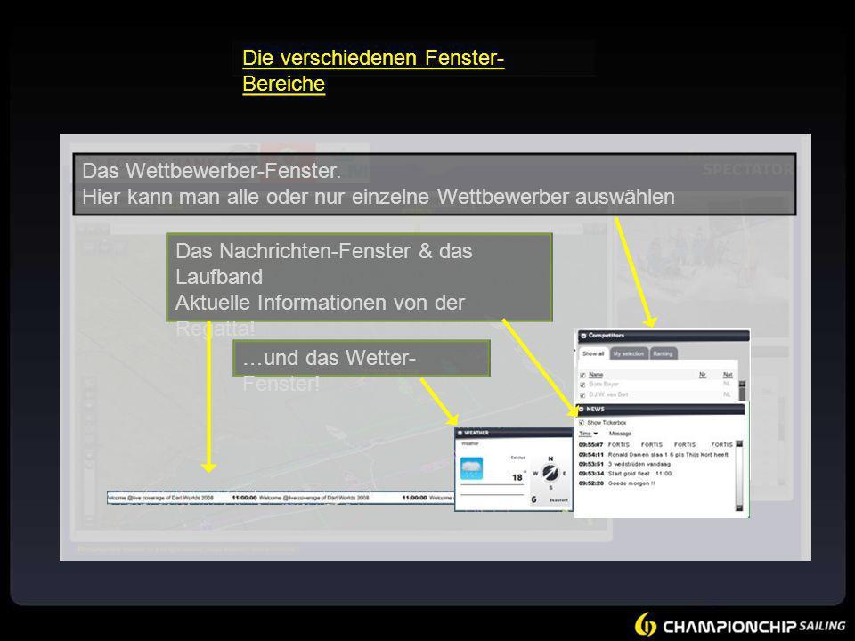 Das Wettbewerber-Fenster. Hier kann man alle oder nur einzelne Wettbewerber auswählen Das Nachrichten-Fenster & das Laufband Aktuelle Informationen vo