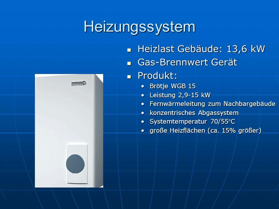 Heizungssystem Heizlast Gebäude: 13,6 kW Heizlast Gebäude: 13,6 kW Gas-Brennwert Gerät Gas-Brennwert Gerät Produkt: Produkt: Brötje WGB 15 Leistung 2,