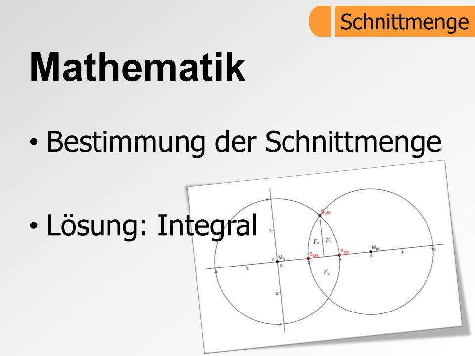 Mathematik Bestimmung der Schnittmenge Lösung: Integral Schnittmenge