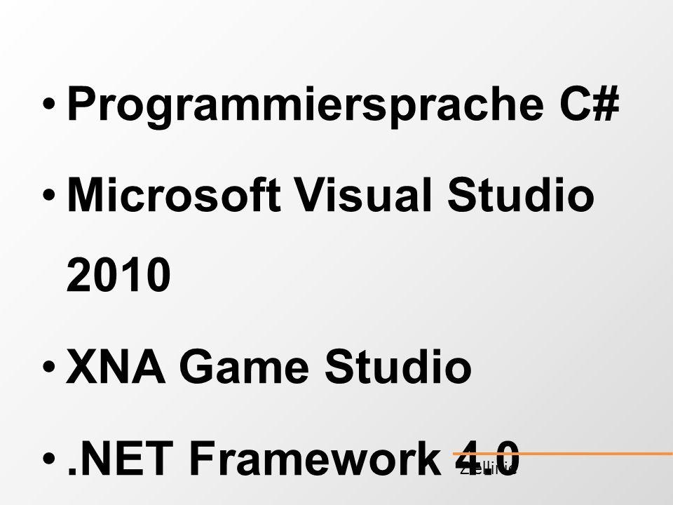 Programmiersprache C# Microsoft Visual Studio 2010 XNA Game Studio.NET Framework 4.0 Ziellinie