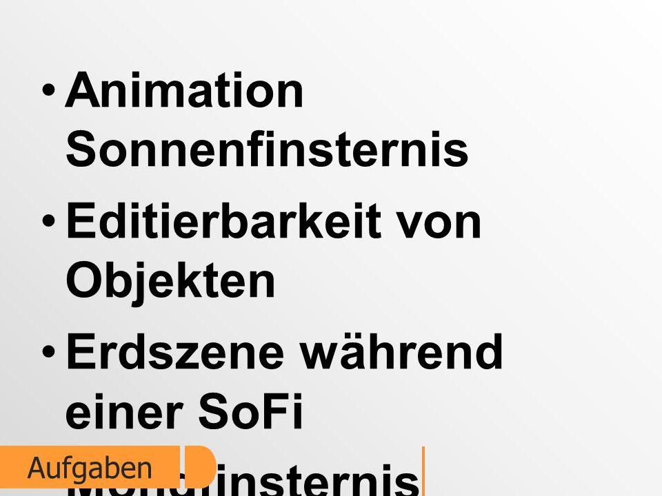 Animation Sonnenfinsternis Editierbarkeit von Objekten Erdszene während einer SoFi Mondfinsternis Berechnung Aufgaben