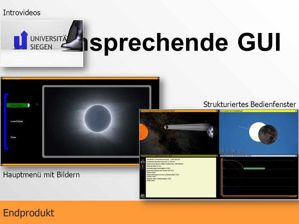 Ansprechende GUI Endprodukt Introvideos Hauptmenü mit Bildern Strukturiertes Bedienfenster