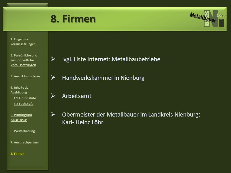 vgl. Liste Internet: Metallbaubetriebe Handwerkskammer in Nienburg Arbeitsamt Obermeister der Metallbauer im Landkreis Nienburg: Karl- Heinz Löhr 1. E